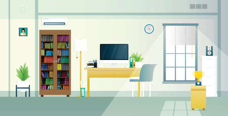 Home office with work equipment and sunlight in the window. Ilustracja
