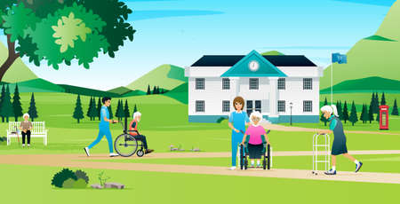 The elderly are resting and walking with the nurses in the nursing home. Ilustracja