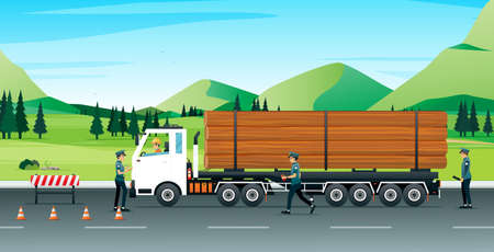 Log trucks stopped for police to check the accuracy and discipline of traffic. Ilustracja