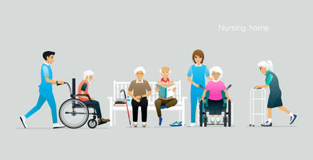 The elderly are under the care of a nursing home. Ilustracja