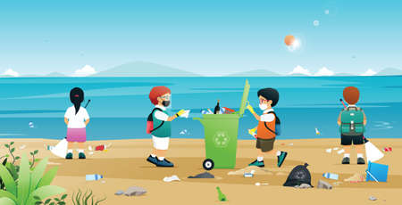 Students are helping to collect litter and plastic on the beach.