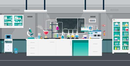 Scientific laboratories with experimental tools and equipment. Ilustracja