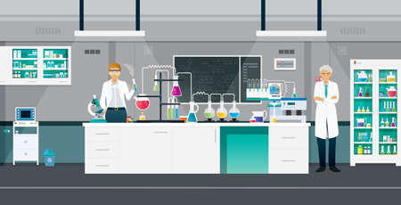 Scientists are doing chemistry experiments in the lab. Ilustracja