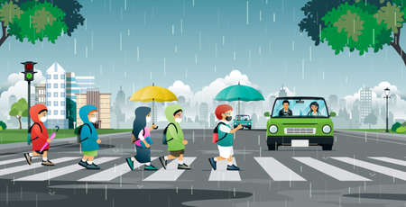A student wearing a mask is walking across the street in the rain. Ilustracja
