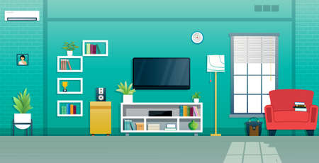 The living room is decorated with a TV near the window. Ilustracja