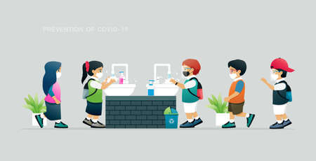 Student prevent COVID-19 by washing hands with soap. Ilustracja