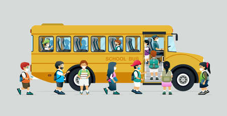 Students wearing masks to prevent infection are walking into a school bus.