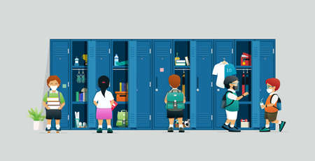 Students wearing sanitary masks are looking for items in children's lockers.