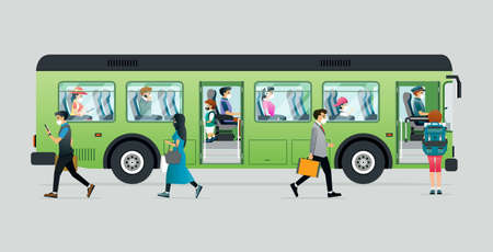 People wear masks to prevent disease while traveling on buses. Ilustracja