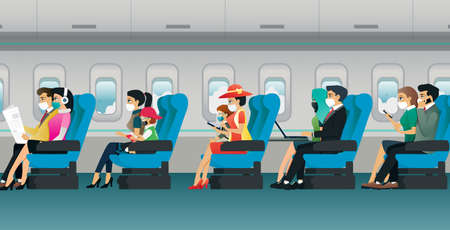 All passengers are required to wear a mask during the flight. Ilustracja