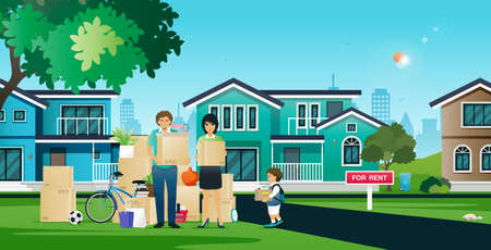 Parents and children are helping to move things in moving homes. Ilustracja
