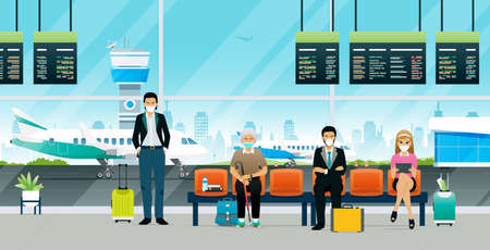 Passengers waiting for the plane during the COVID-19 epidemic. Ilustracja
