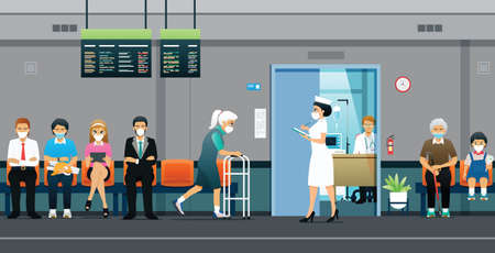Nurses call for patients waiting to see a doctor during the epidemic. Ilustracja
