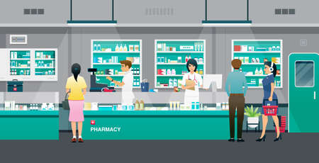 Male and female pharmacists selling drugs to the public.