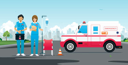 Emergency team with vehicles and first aid equipment.