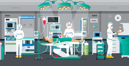 Doctors put PPE kits to treat COVIT-19 patients in negative pressure chambers.