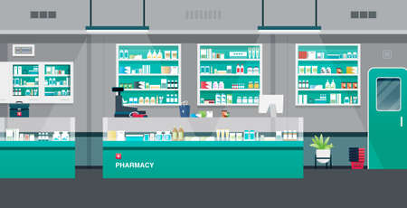 Pharmacy with cash registers and counter equipment.