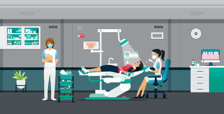 Dentists are treating patients with help from nurses. Ilustracja