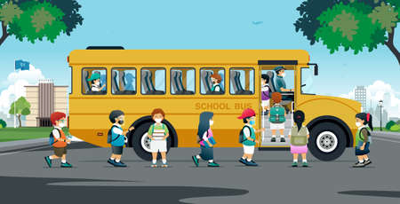 All students put on protective masks and boarded the school bus home.