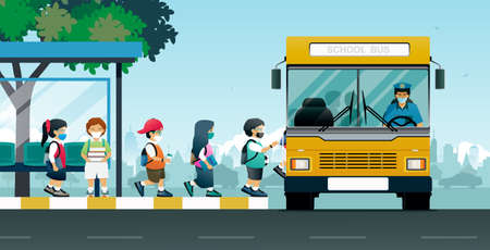 All students put on protective masks and boarded the buses to school.