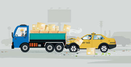 A taxi had an accident in the back of a cargo truck. Çizim