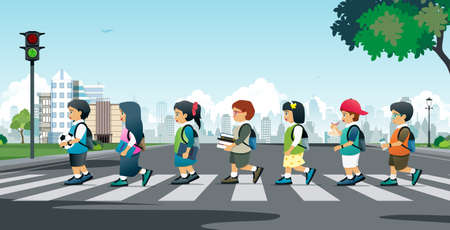 Students walking on a crosswalk with traffic lights. Illusztráció