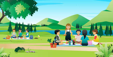 The children had a picnic in a park with a flowing river. Ilustracje wektorowe
