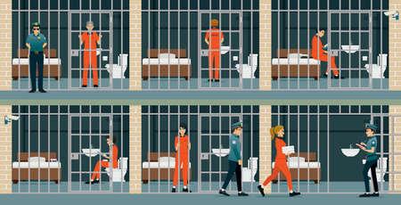 Male and female prisoners were held in custody.