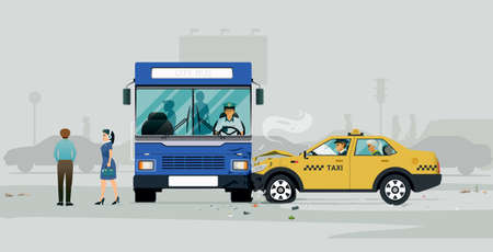 A bus collision with a taxi forced the passengers to descend.