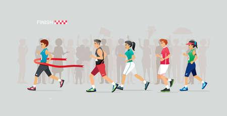 Female runners run to the finish line in the marathon. Çizim