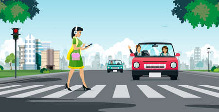 A woman looking at a smartphone while crossing a crosswalk.