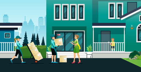 Employees deliver products to customers at their addresses safely.