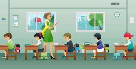 The teacher is teaching the students in the classroom.