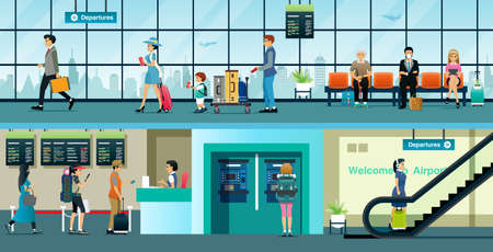 Citizens buy plane tickets to travel in the airport.