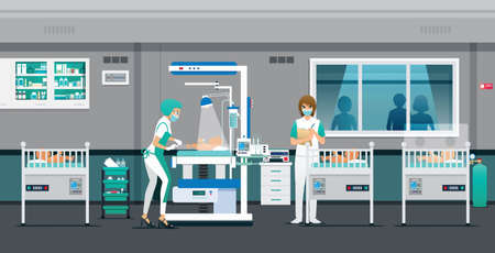 The doctor is cleaning and caring for the health of the newborn.