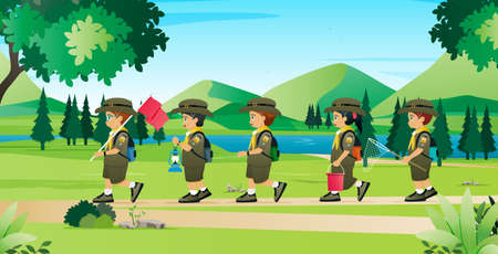 Students in the Scout uniform are learning to live in nature. Çizim