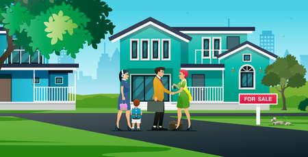 A saleswoman congratulates a family who bought a house.