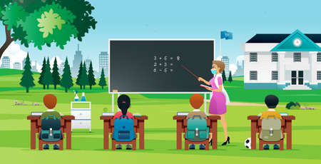 Teachers teach students outside of the classroom to prevent the spread of Covid-19 in schools.