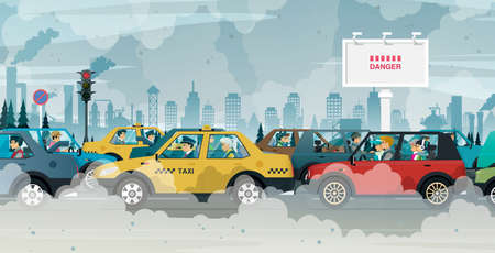 People driving in cities are exposed to traffic jams and air pollution.