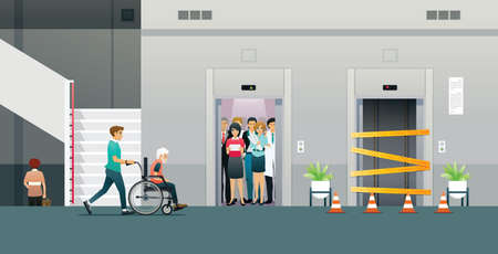 A man pushing a wheelchair whose elevator is crowded and under maintenance.