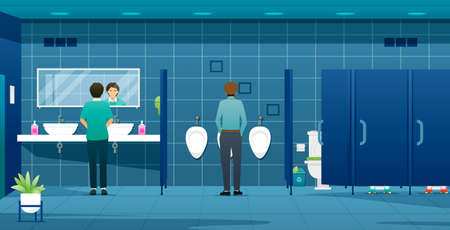 People and workers using male public toilets.