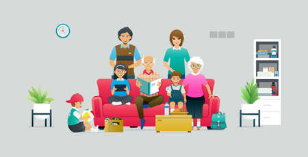 A large family has members sitting on a sofa against a gray background.