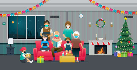 Large families celebrate Christmas wearing masks to prevent the spread of COVID-19.
