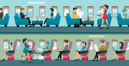 Passengers can choose to fly first class and low cost airlines.