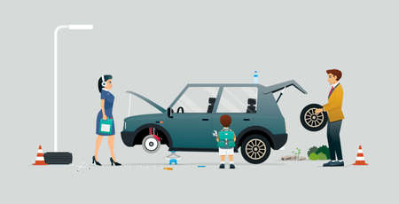 Parents and children helping to fix a car against a gray background. Çizim