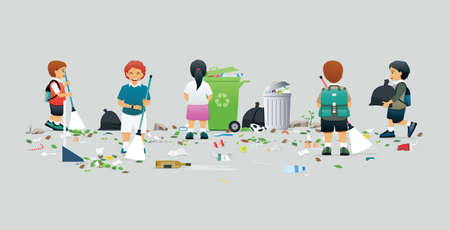 Male and female students help to clean and collect trash.