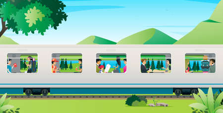 People are traveling by train with mountains in the background.