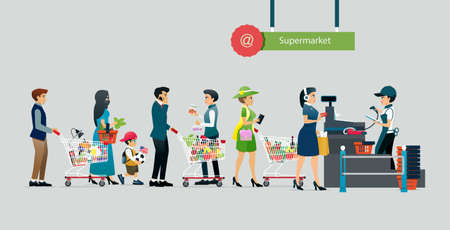 People line up to pay in supermarkets with gray backdrops.