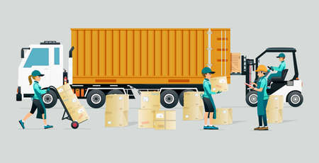 Employees help to transport goods into truck containers.