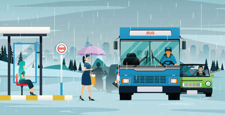 The bus was picking up passengers as the rain forced the car in the back to stop. Çizim